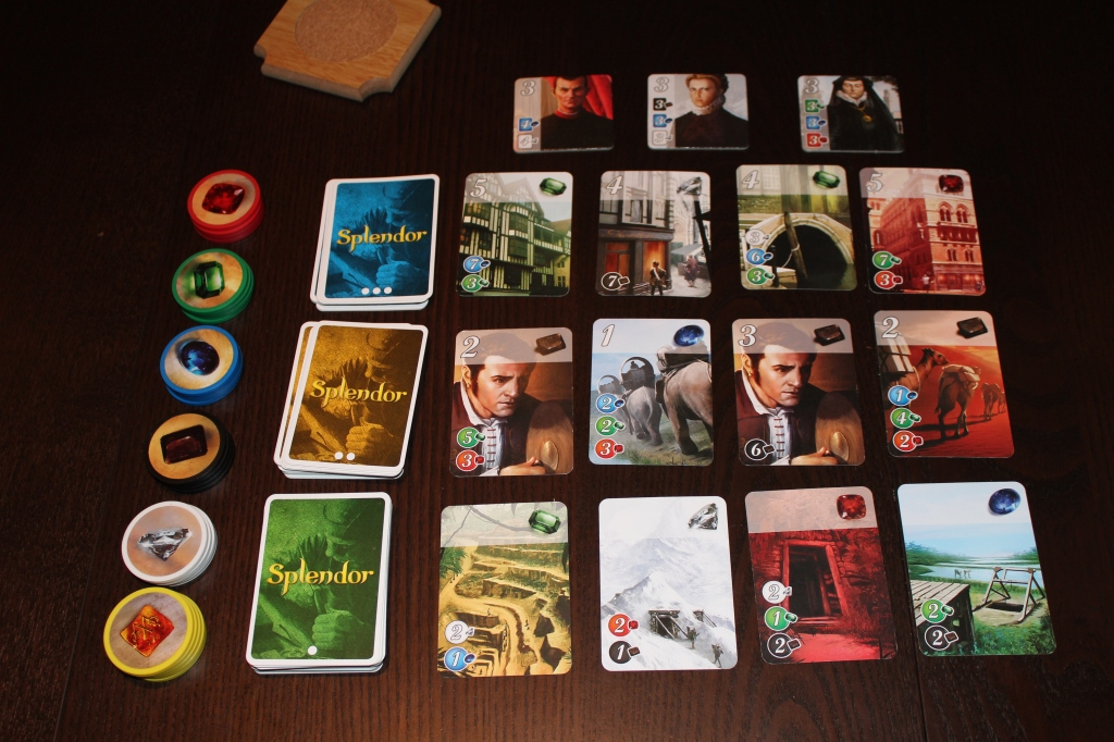 Splendor gems, cards, and tiles.